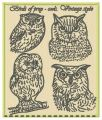 Birds of prey - owls. Vintage style embroidery design