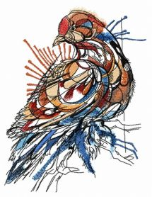 Mosaic pigeon machine embroidery design