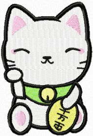 Maneki Neko clever cat machine embroidery design