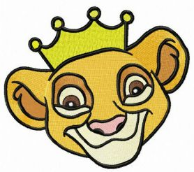 Simba with golden crown machine embroidery design