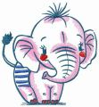 Elephant at the beach embroidery design