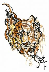 Gloomy tiger machine embroidery design