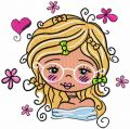 Romantic girl in glasses embroidery design