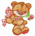 Old bear toy gift embroidery design