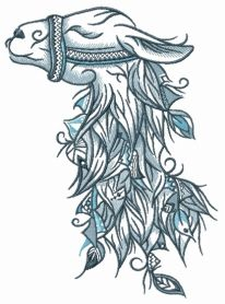 Lama machine embroidery design