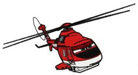 Fire prevention helicopter machine embroidery design