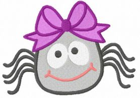 Smiling cute spider free embroidery design
