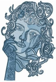 Pensive lady machine embroidery design