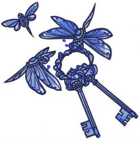 Dragonflies with keys machine embroidery design