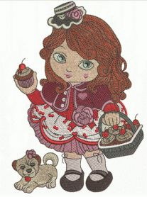 Modern Little Red Riding Hood machine embroidery design