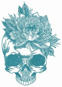 Skull with giant flower machine embroidery design