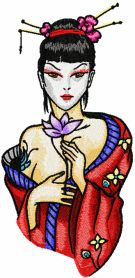 Modern Geisha Yours Forever machine embroidery design