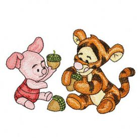 Baby Tiger and Baby Piglet machine embroidery design