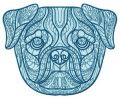 Mosaic pug-dog embroidery design