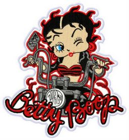 Betty Boop the biker machine embroidery design