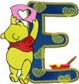Winnie Pooh painter letter E free machine embroidery design
