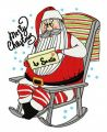 Santa reading letter embroidery design