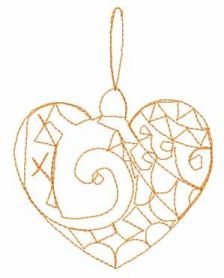 Christmas decoration redwork heart free embroidery design