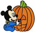 Baby Mickey with pumpkin embroidery design