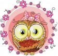 Cute owl girl embroidery design