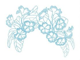 Garden flowers hair decoration machine embroidery design
