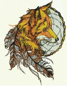 Fox and dreamcatcher 2 machine embroidery design