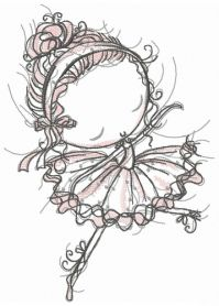 Young ballerina machine embroidery design