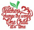 Teachers change the world embroidery design
