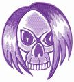 Hairy skull embroidery design
