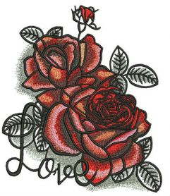 i love roses machine embroidery design