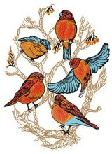 Flock of bullfinches on tree