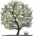 Tree town embroidery design