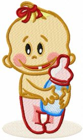 Baby with bottle machine embroidery design
