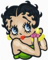 Betty Boop tries on earrings embroidery design
