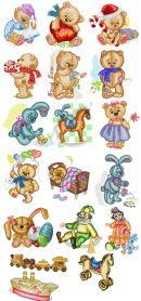 Old Toys Teddy Bear Embroidery Pack machine embroidery design