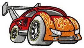 Hot rod racing car machine embroidery design
