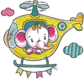 Baby elephant in helicopter embroidery design