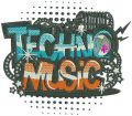 Techno music embroidery design
