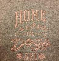 Bath towel with Home where the Dogs are embroidery design