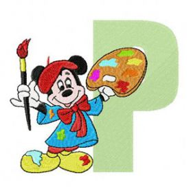 Mickey Mouse P Painter machine embroidery design