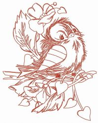 Sad sparrow sketch embroidery design