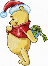 Winnie the Pooh with Christmas Gift