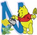Pooh loving flowers Alphabet Letter N embroidery design