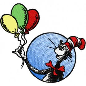 Dr. Seuss Cat in the Hat with Balloons machine embroidery design