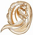 Brown horse head sketch embroidery design