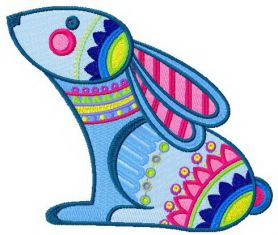 Rainbow bunny machine embroidery design