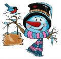 Snowman in iced up hat embroidery design