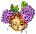 Pretty red-haired teen embroidery design