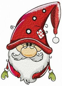 Amiable gnome machine embroidery design