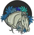Horse at night embroidery design